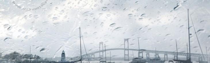 Goat Island Newport Bridge Rain
